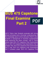 BUS 475 Capstone Final Examination Part 2 Questions   UOP E Tutors