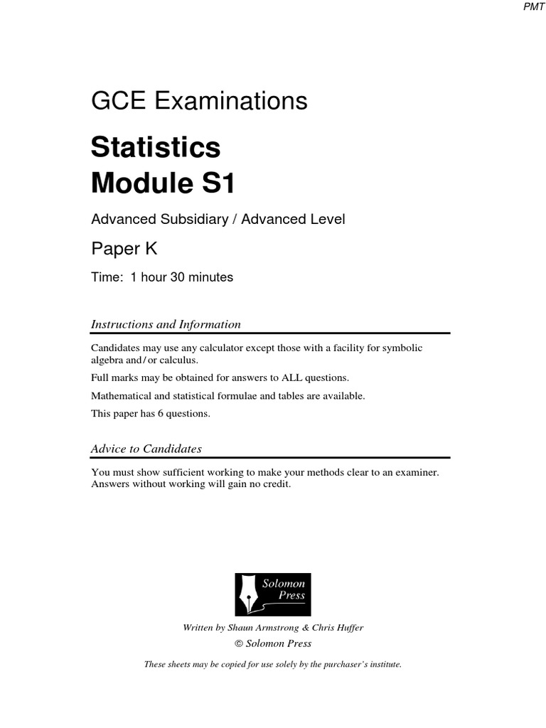 Solomon K QP - S1 Edexcel | Mean | Statistics