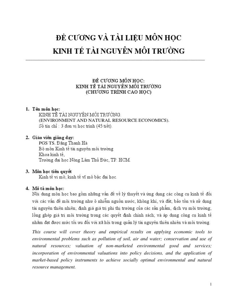 Bai Giang Kinh Te Tnmt