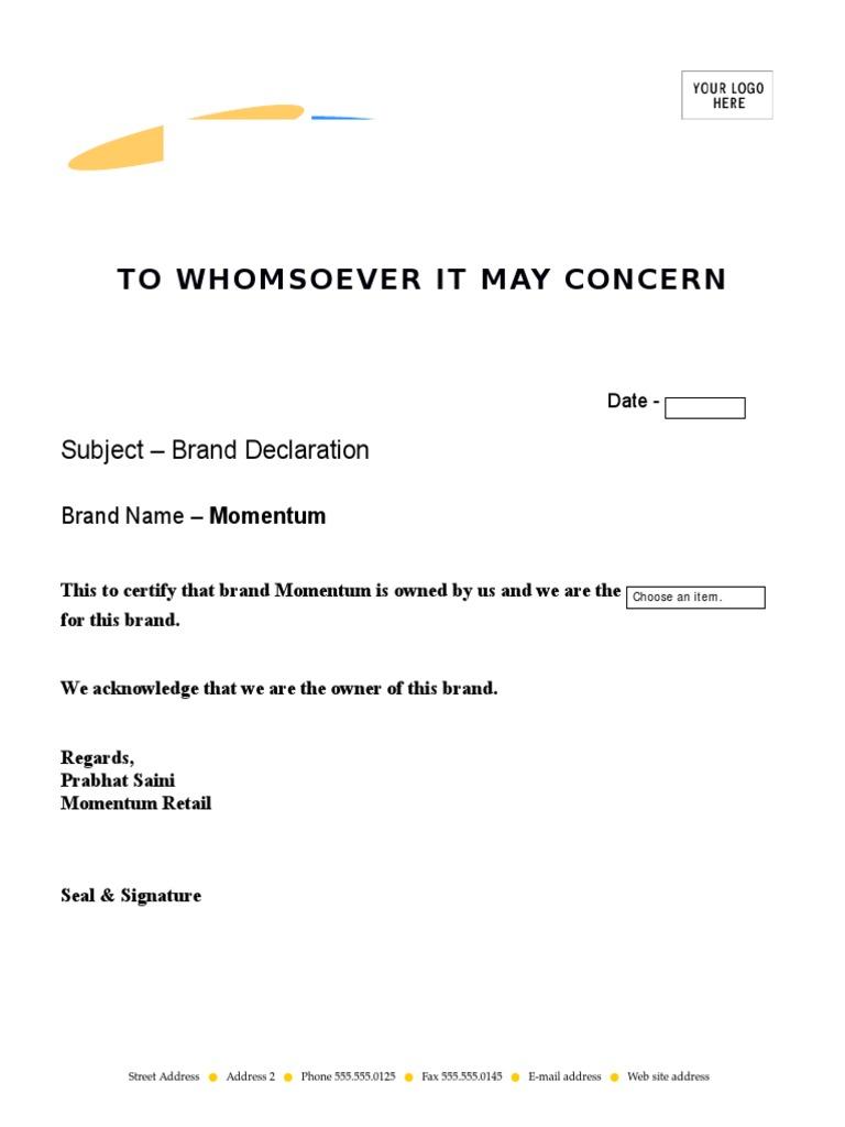 Brand declaration format altavistaventures Gallery