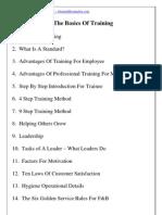 The Basics of Training