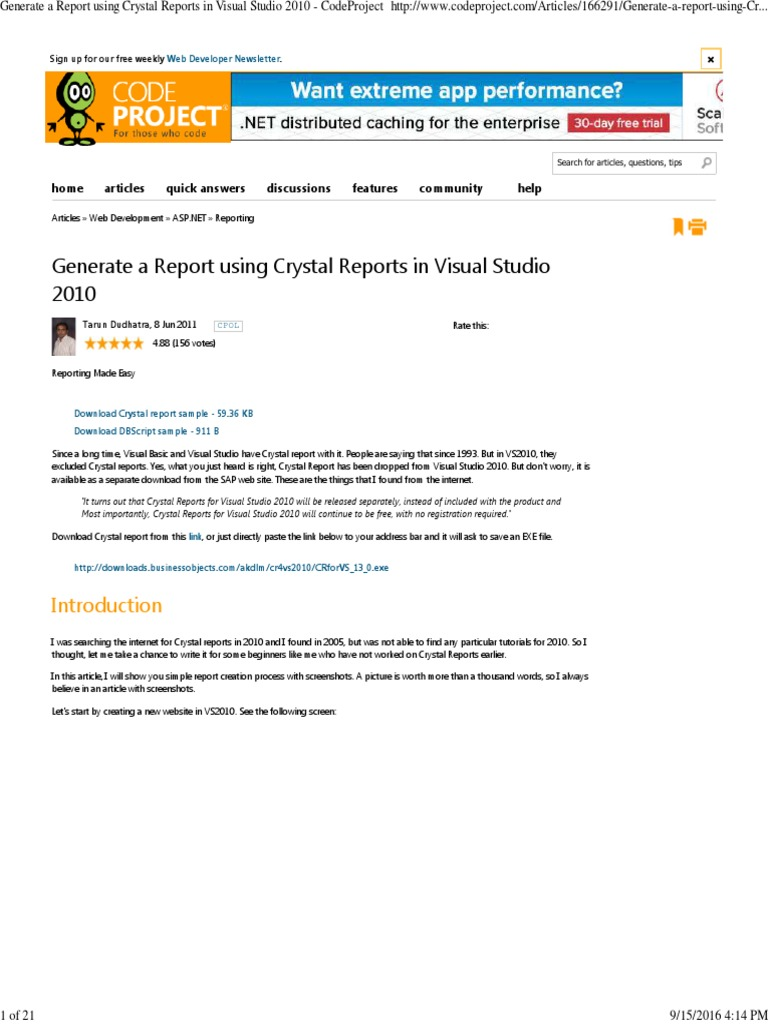Generate a Report Using Crystal Reports in Visual Studio 2010