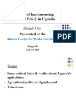 Challenges of Implementing Agricultural Policy in Uganda
