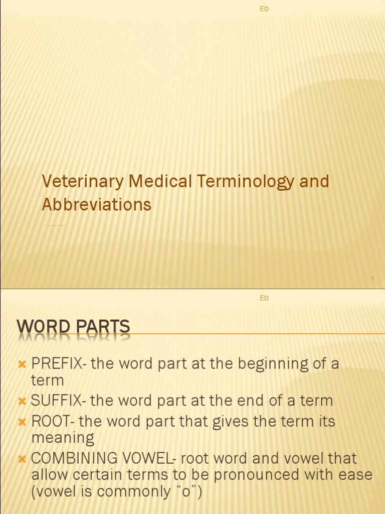 veterinary medical terminology abbreviations