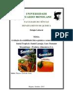 Avaliação da estabilidade físico-química e sensorial dos sumos santal tropical e laranja