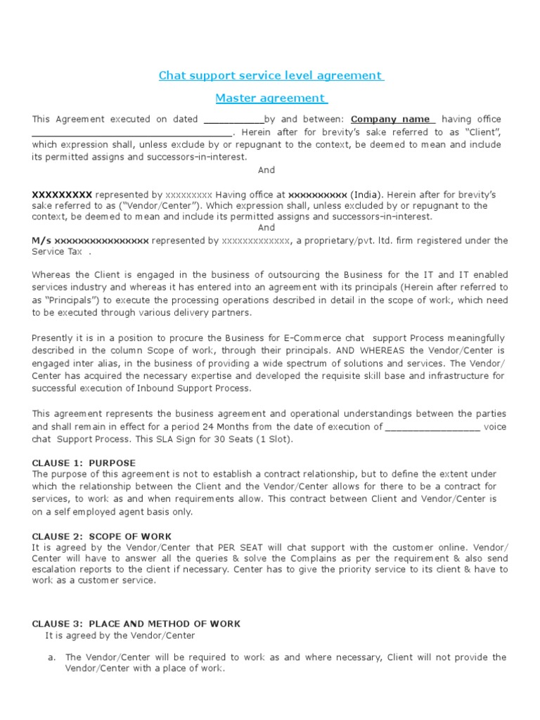 Chat Support Sla Agreement Arbitration Service Level Agreement