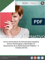 Curso Universitario de Psicoterapia Cognitiva (Curso Homologado y Baremable en Oposiciones de la Administración Pública + 4 Créditos ECTS)