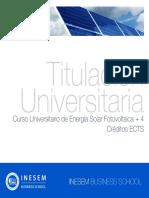 Curso Universitario de Energía Solar Fotovoltaica + 4 Créditos ECTS