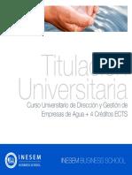 Curso Universitario de Dirección y Gestión de Empresas de Agua + 4 Créditos ECTS