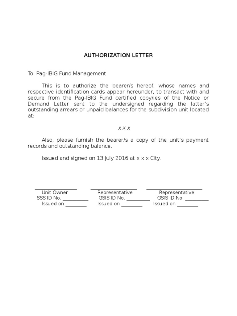 authorization letter to pag ibig
