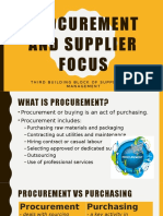 SCM - Procurement and Supplier Focus