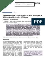 Sedimentological characteristics of Ajali sandstone at Okigwe, Anambra basin, SE Nigeria