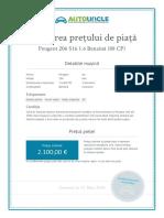Evaluarea Prețului Pieței Pentru Peugeot 206