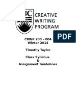 CRWR 200 004 Winter 2014 Syllabus Assignment Guildelines and Grading Rubrics