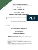 Ley No 2341 de Procedimiento Administrativo