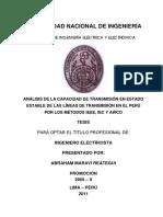 Análisis de La Capacidad de Transmisión en Estado Estable de Las Líneas de Transmisión en El Perú Por Los Métodos IEEE, IEC y AWCO