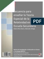 Secuencia para Enseñar la Teoria Especial de la Relatividad en la escuela Secundaria