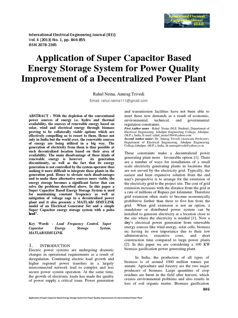Application of Super Capacitor Based Energy Storage System for Power ...