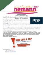 Communiqué de Presse Lienemann 2017 - Manifestation anti Libre-échange Berlin, 17 septembre 2016