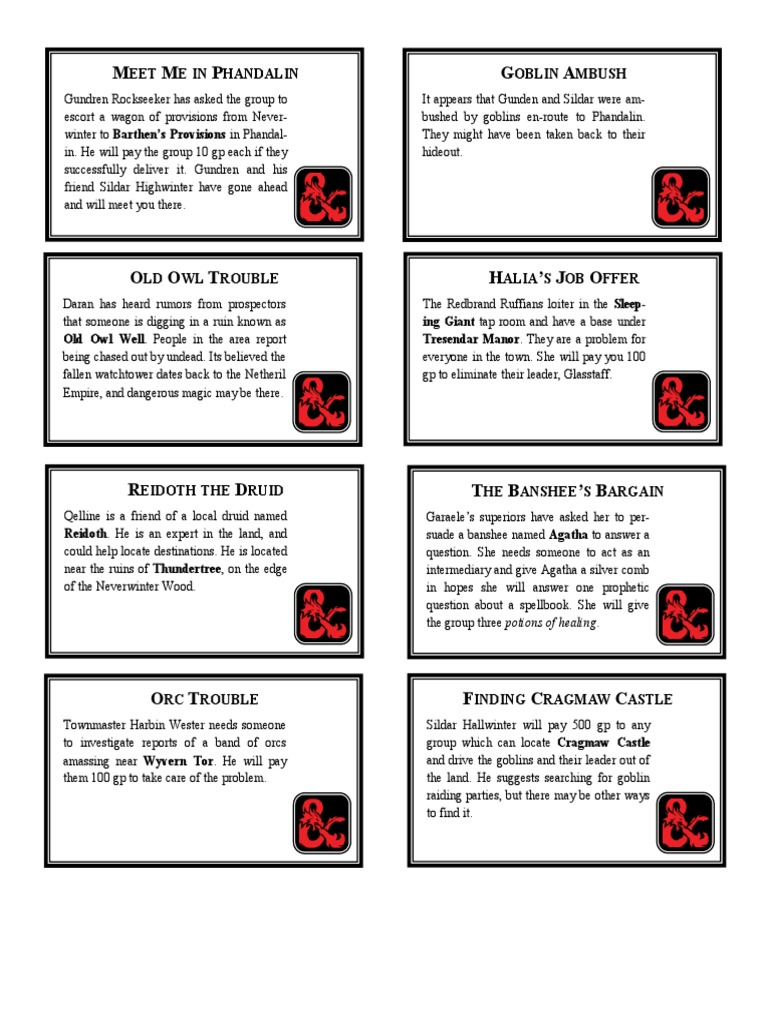 Phandelver Quest Cards   Orc (Middle Earth)   Fantasy