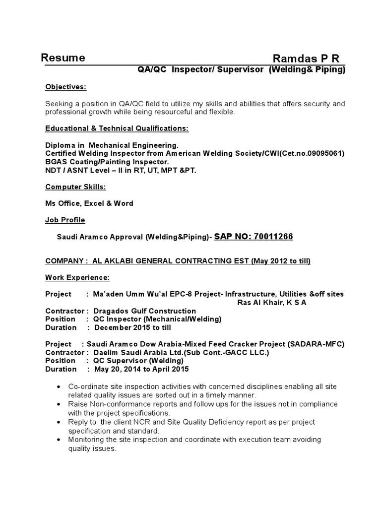 Welding Inspector CV   Pipe (Fluid Conveyance
