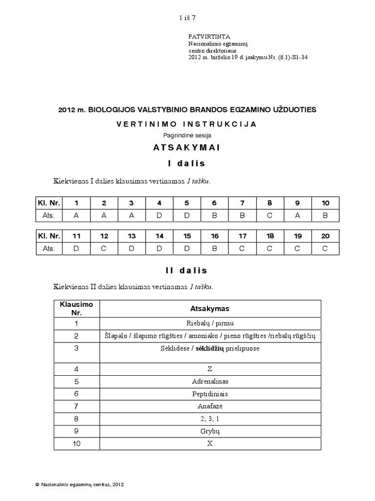 BIOLOGIJOS EGZAMINAS 2012 PDF