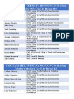 Maths Class List 2016