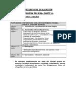 Audición y Lenguaje - Criterios de Evaluación