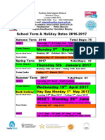 Holiday Dates 2016 - 17