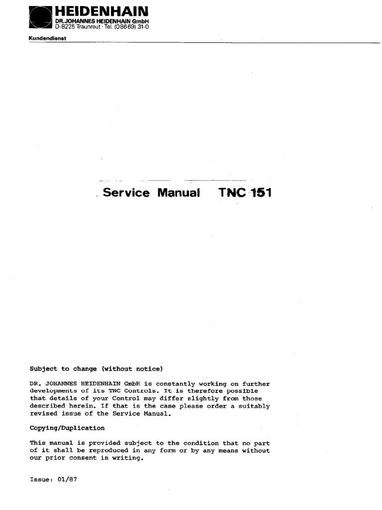 Heidenhain TNC 151 AP Service Instructions | Electrical Connector |  Manufactured Goods
