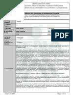 Infome Programa de Formación Titulada Implementacion y Mantenimiento de Equipos Electronicos Industriales