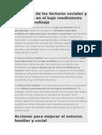 Influencia de Los Factores Sociales y Familiares en El Bajo Rendimiento en El Aprendizaje