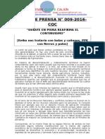 NOTA DE PRENSA N° 009-2016 [debate PPKeiko continuismo]