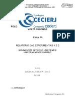 Relatório 1 e 2 Física 1A Ok