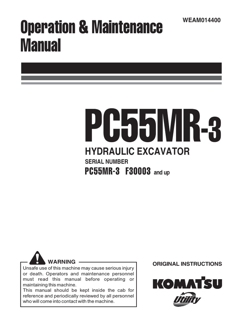 Komatsu PC55MR-3 Operators Manual | Safety | Manual Transmission