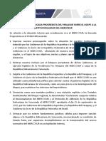 """Bloque Progresista del Parlasur denunciando """"golpe de Estado"""" en Mercosur"""