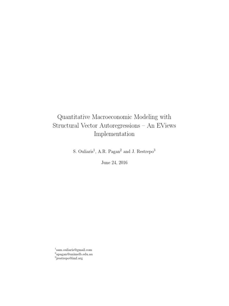 Quantitative Analysis in Eviews: Using Structural VAR (SVAR