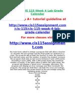 DEVRY CIS 115 Week 4 Lab Grade Calendar.doc