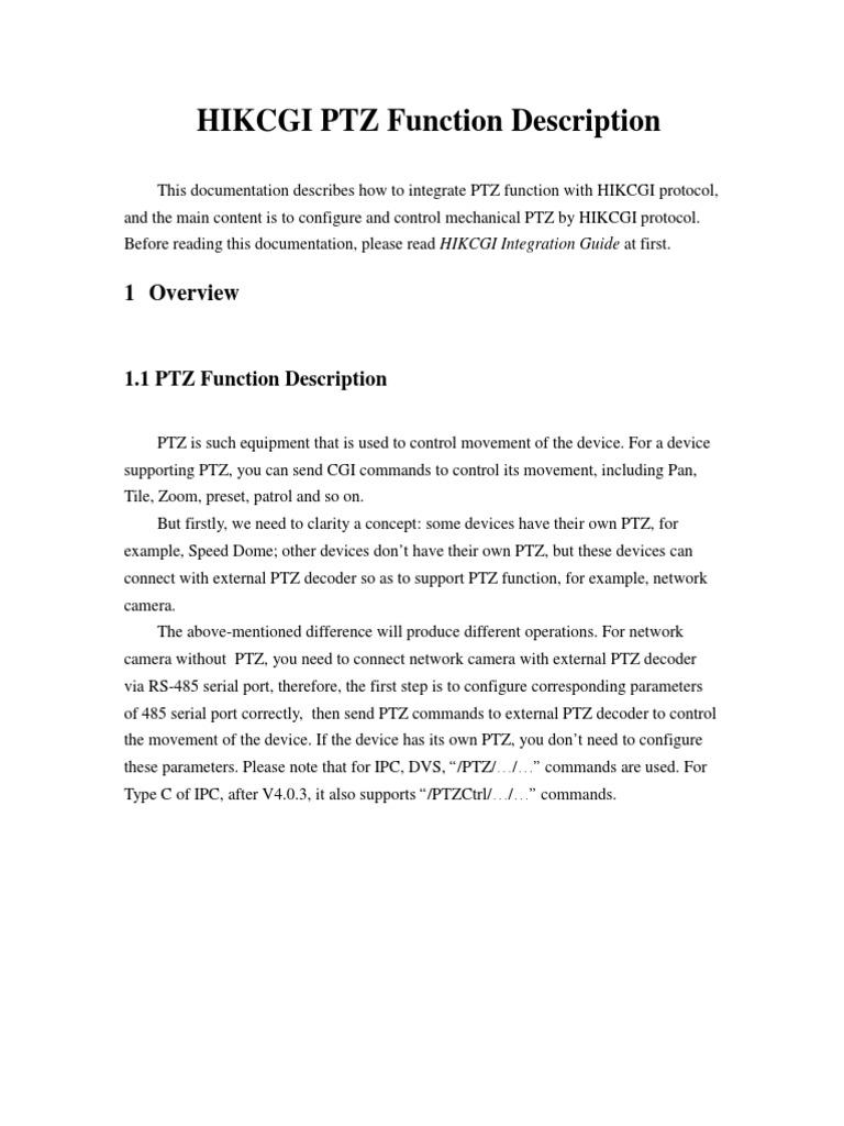 Hikcgi Ptz Function | Hypertext Transfer Protocol | Port (Computer