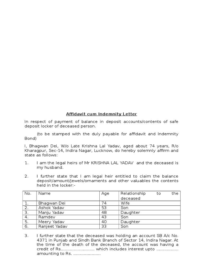 Affidavit Cum Indemnity Lettercx Private Law Common Law
