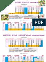 Calendar Scolar 2016-2017