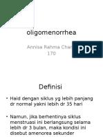 Oligomenorrhea CAE