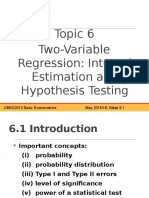 Topic 6 Two Variable Regression Analysis Interval Estimation and Hypothesis Testing