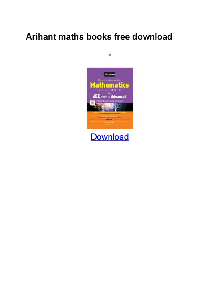 Ari Hant Maths Books Free Download | Career And Technical