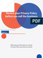 Review Privacy Policy before you sell business