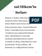 Fususul Hikem'in Sırları - Ahmet Noyan Kızıltan (2)