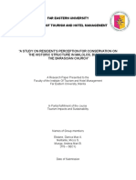 A STUDY ON RESIDENT'S PERCEPTION FOR CONSERVATION ON THE HISTORIC STRUCTURE IN MALOLOS, BULACAN