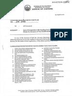 Bureau of Customs Memorandum Circular 119-2016 / companies with pending duty drawbacks or tax claims