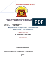Preguntas de Amalgamacion , Concentracion Gravimetrica y Hidrometalurgia ( Junior Andres ,Daniel Quispe)