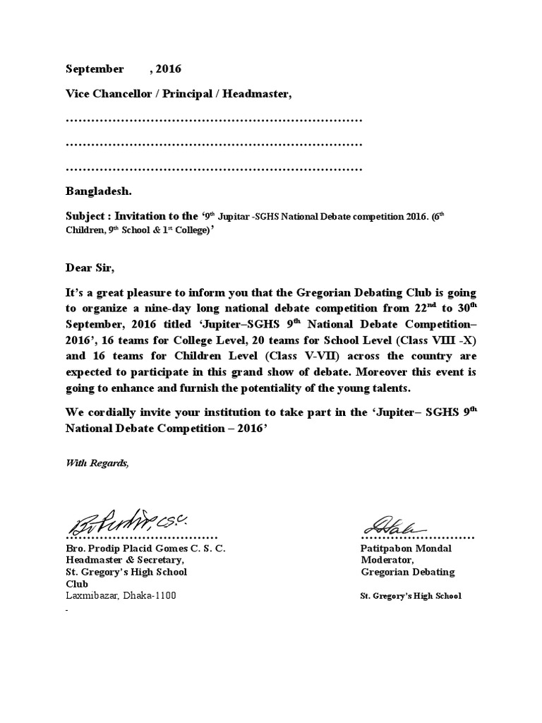 Invitation Letter Of Jupiter Sghs 9th National Debate Competition